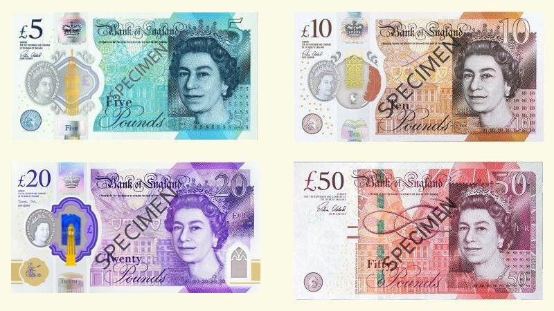 Banknoty brytyjskie w obiegu - 5, 10, 20, 50 funtów
